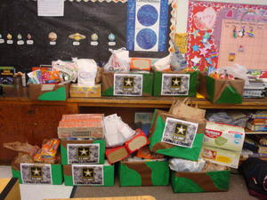 We collected care packages for the troops!!!!